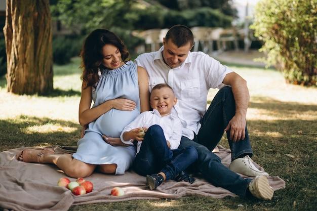 Marido com a esposa grávida e seu filho fazendo piquenique no parque