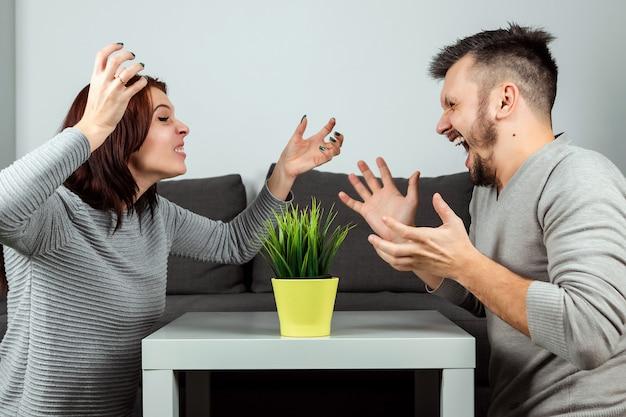 Marido e mulher gritam um para o outro, close-up. briga de família