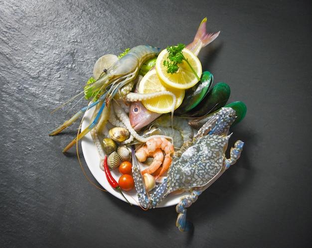 Marisco, marisco, prato, com, camarões camarões caranguejo, conchas, berbigão, mexilhão, lula