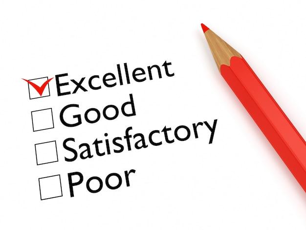 Mark excellent: formulário de avaliação e lápis