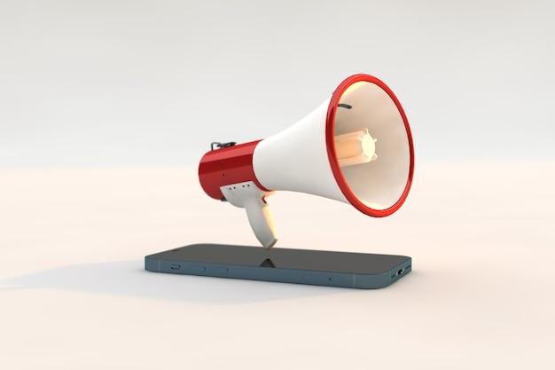 Marketing digital, um megafone e um smartphone em fundo branco