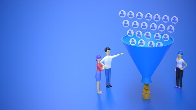 Marketing funil de vendas atraindo público e obtendo dinheiro ilustração renderização em 3d