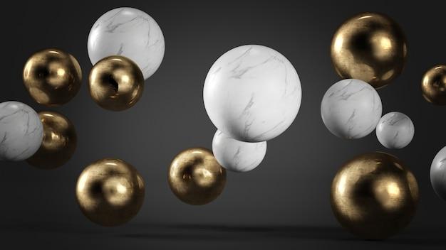 Mármore branco e esferas de ouro flutuando fundo de renderização em 3d
