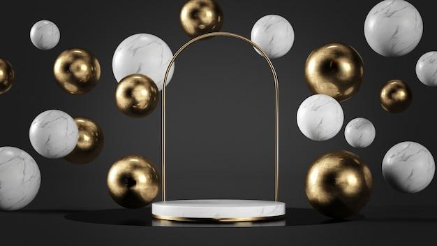 Mármore branco luxuoso e plataforma de ouro cercada por bolhas de renderização em 3d