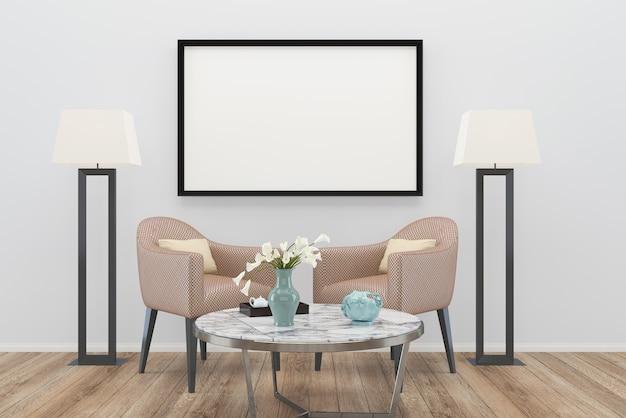 Marrom braço cadeira sala de estar velho piso de madeira fundo textura lâmpada foto moldura mármore