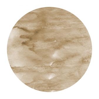 Marrom mão desenhada aquarela moldura circular textura de fundo com manchas