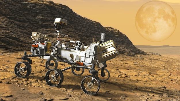 Mars rover explora a superfície de marte, vista em um planeta laranja.