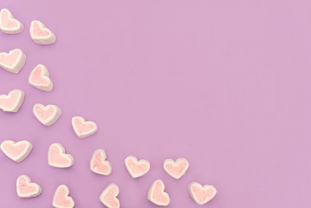 Marshmallow rosa em fundo