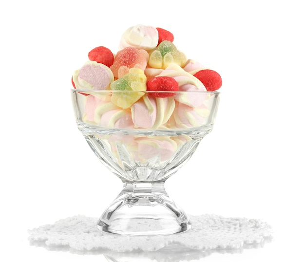 Marshmallow suave em vaso de vidro branco