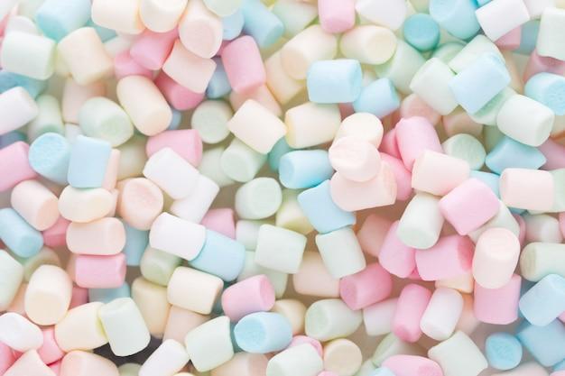 Marshmallows ou textura de mini marshmallows coloridos