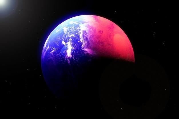 Marte e a terra em um corpo planetário os elementos desta imagem foram fornecidos pela nasa