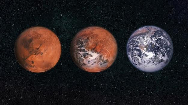 Marte e a terra no espaço. transforme o planeta marte no planeta terra