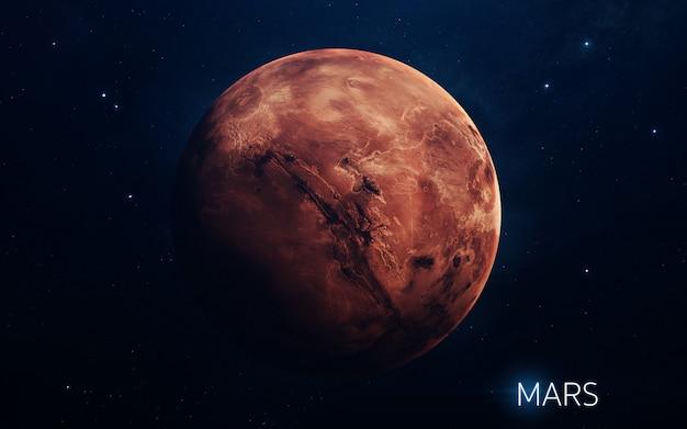 Marte - planetas do sistema solar em alta qualidade. papel de parede de ciência.
