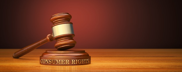 Martelo com palavras direitos do consumidor no bloco de som