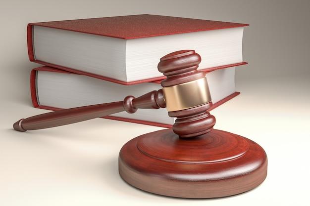 Martelo de juiz de madeira e mesa de ressonância - foco seletivo - renderização 3d