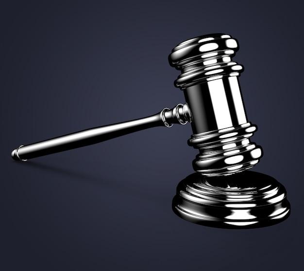 Martelo de juiz em azul com traçado de recorte