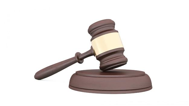 Martelo de juiz em um fundo branco