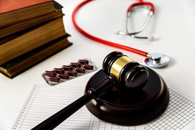 Martelo de juiz que decide em um caso de corrupção de drogas em um hospital.