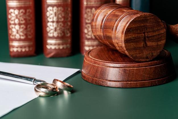 Martelo de lei e alianças na mesa