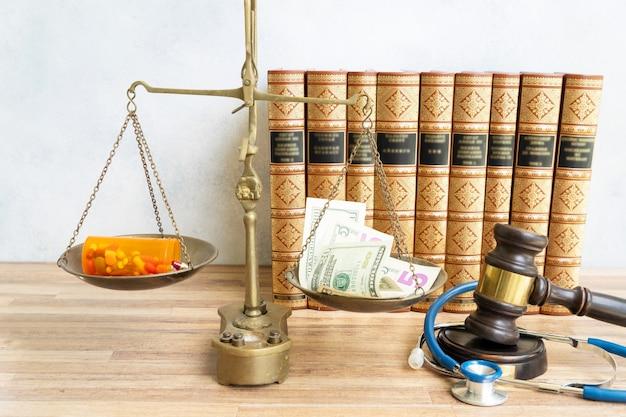 Martelo de lei e peso de equilíbrio com dinheiro e pílulas, custos de tratamento e conceito de direito médico