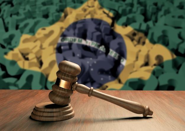 Martelo do juiz de madeira símbolo da lei e da justiça com a bandeira do brasil. sistema judiciário brasileiro. renderização 3d
