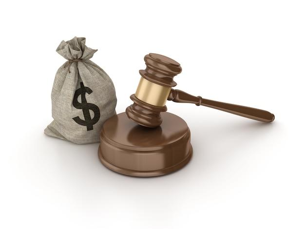 Martelo legal com saco de dinheiro do dólar