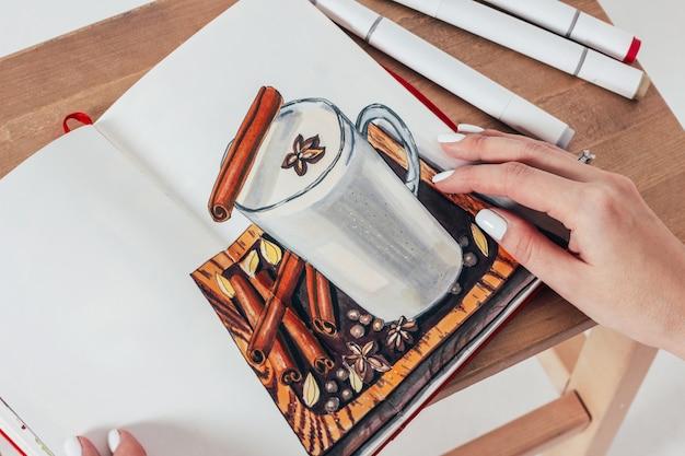 Masala chá com especiarias sketch desenho por marcadores no caderno