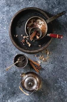 Masala chai com ingredientes
