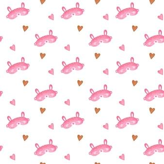 Máscara de dormir sem costura padrão padrão pijama, fundo de máscara de coelho rosa
