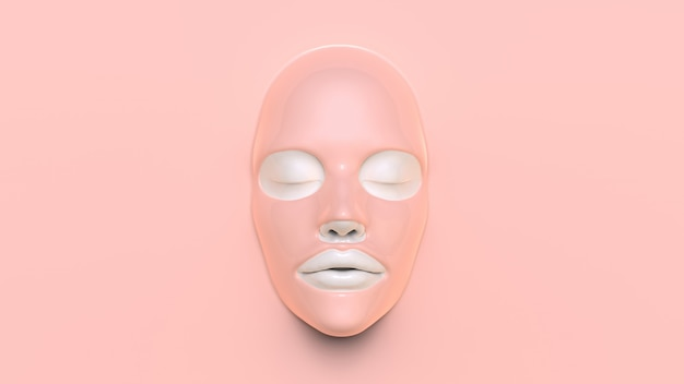 Máscara de folha-de-rosa no fundo rosa 3d render