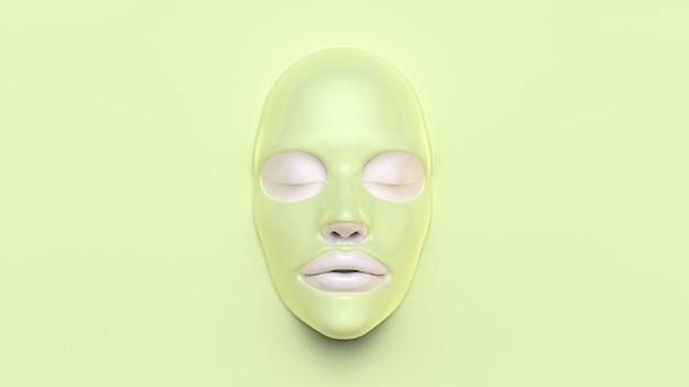 Máscara de folha verde sobre fundo verde 3d render
