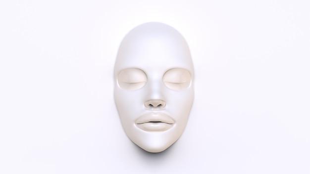 Máscara de lençol branco sobre fundo branco 3d render