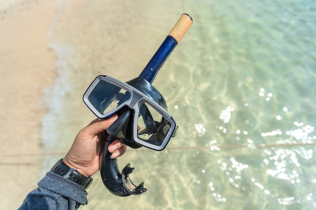 Máscara de mergulho e snorkel, snorkeling