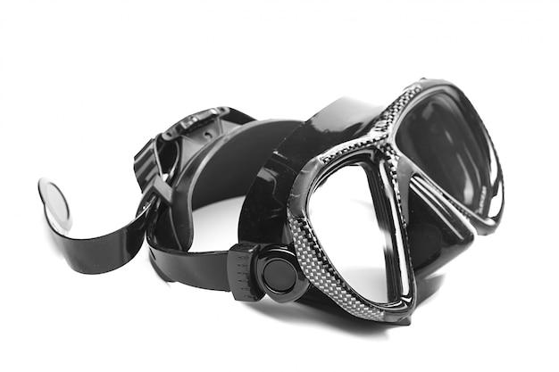 Máscara de mergulho isolada no branco