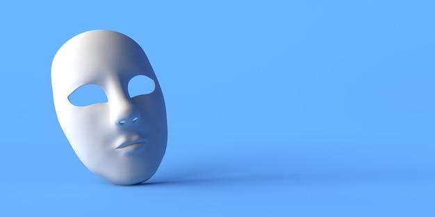 Máscara de teatro inexpressiva sobre fundo azul. copie o espaço. ilustração 3d.