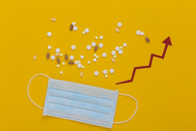 Máscara facial médica e frasco de comprimidos com seta de crescimento tendendo para cima em amarelo