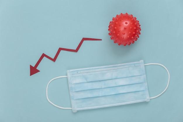 Máscara facial médica e modelo de cepa de vírus com flecha caindo tendendo para baixo em um azul