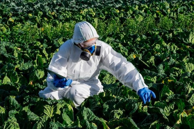 Máscara química de equipamento de proteção branca de cientista e óculos no campo agrícola