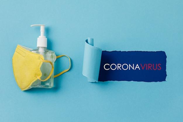 Máscaras cirúrgicas médicas de prevenção de coronavírus e gel desinfetante para as mãos para proteção das mãos contra vírus corona
