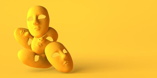 Máscaras de teatro inexpressivas em fundo amarelo. copie o espaço. ilustração 3d.