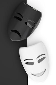 Máscaras de teatro tragicômico. máscaras de tristeza e sorriso em um fundo branco e preto