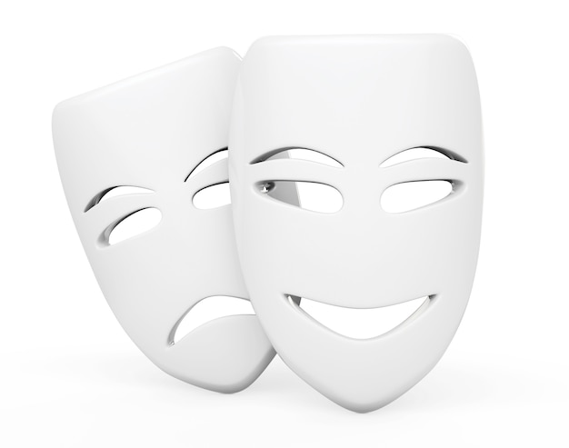 Máscaras de teatro tragicômico. máscaras de tristeza e sorriso em um fundo branco