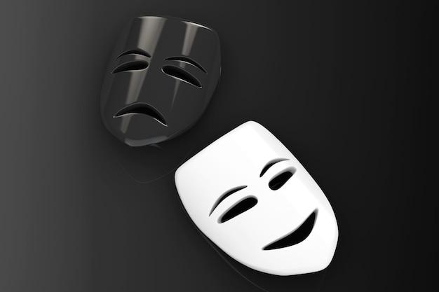 Máscaras de teatro tragicômico. máscaras de tristeza e sorriso em um fundo preto