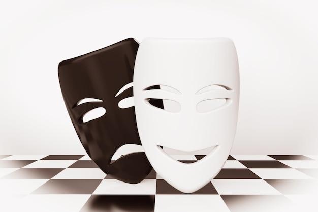 Máscaras de teatro tragicômico. máscaras de tristeza e sorriso sobre fundo de tabuleiro de xadrez