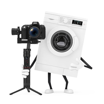 Mascote branca moderna do caráter da máquina de lavar com sistema de tripé de estabilização do balancim de dslr ou câmera de vídeo em um fundo branco. renderização 3d