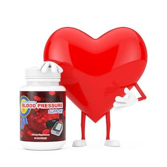 Mascote de caráter de coração vermelho com garrafa de plástico de comprimidos de suporte de pressão arterial em um fundo amarelo. renderização 3d