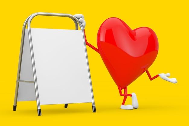 Mascote de caráter de coração vermelho com suporte de promoção de publicidade em branco branco sobre um fundo amarelo. renderização 3d