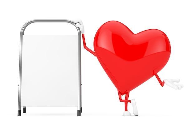 Mascote de caráter de coração vermelho com suporte de promoção de publicidade em branco branco sobre um fundo branco. renderização 3d