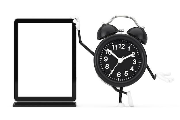 Mascote de personagem de despertador com suporte de tela lcd de feira de comércio em branco como modelo para seu projeto em um fundo branco. renderização 3d