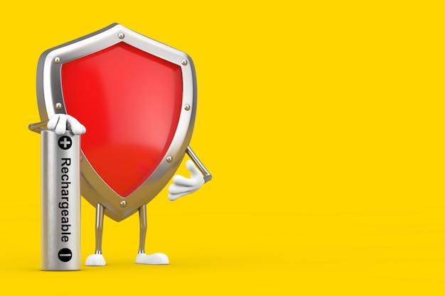 Mascote de personagem de escudo de proteção de metal vermelho com bateria recarregável em um fundo amarelo. renderização 3d